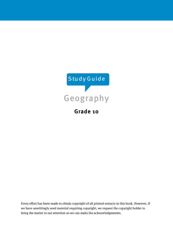 Geography exam papers and study material for grade 10